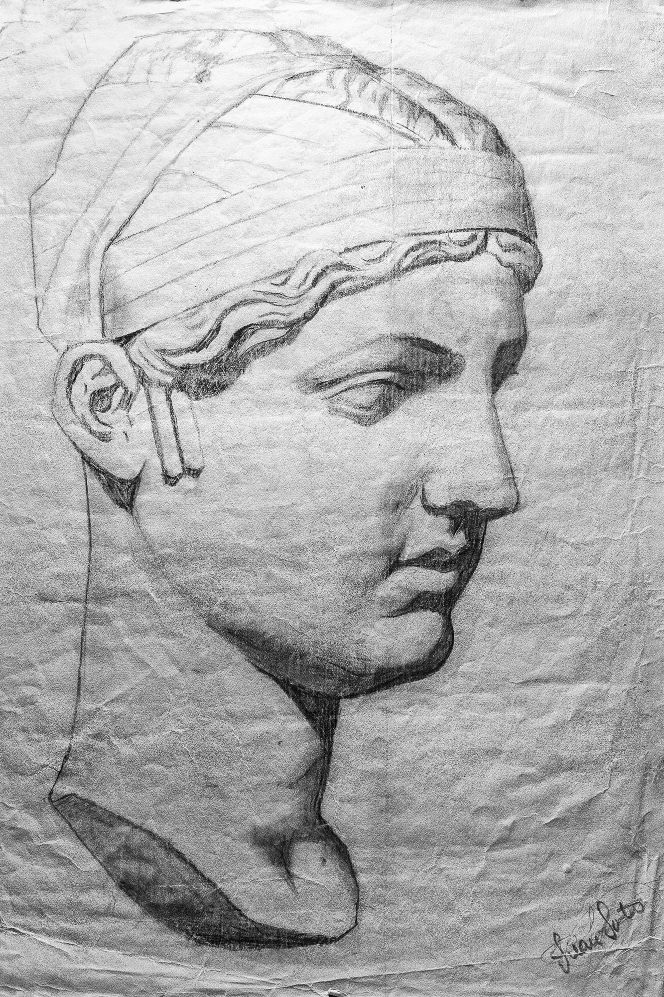 Juan Soto. Obra temprana 1946. Carboncillo sobre papel. 34 x 23,5 cm.