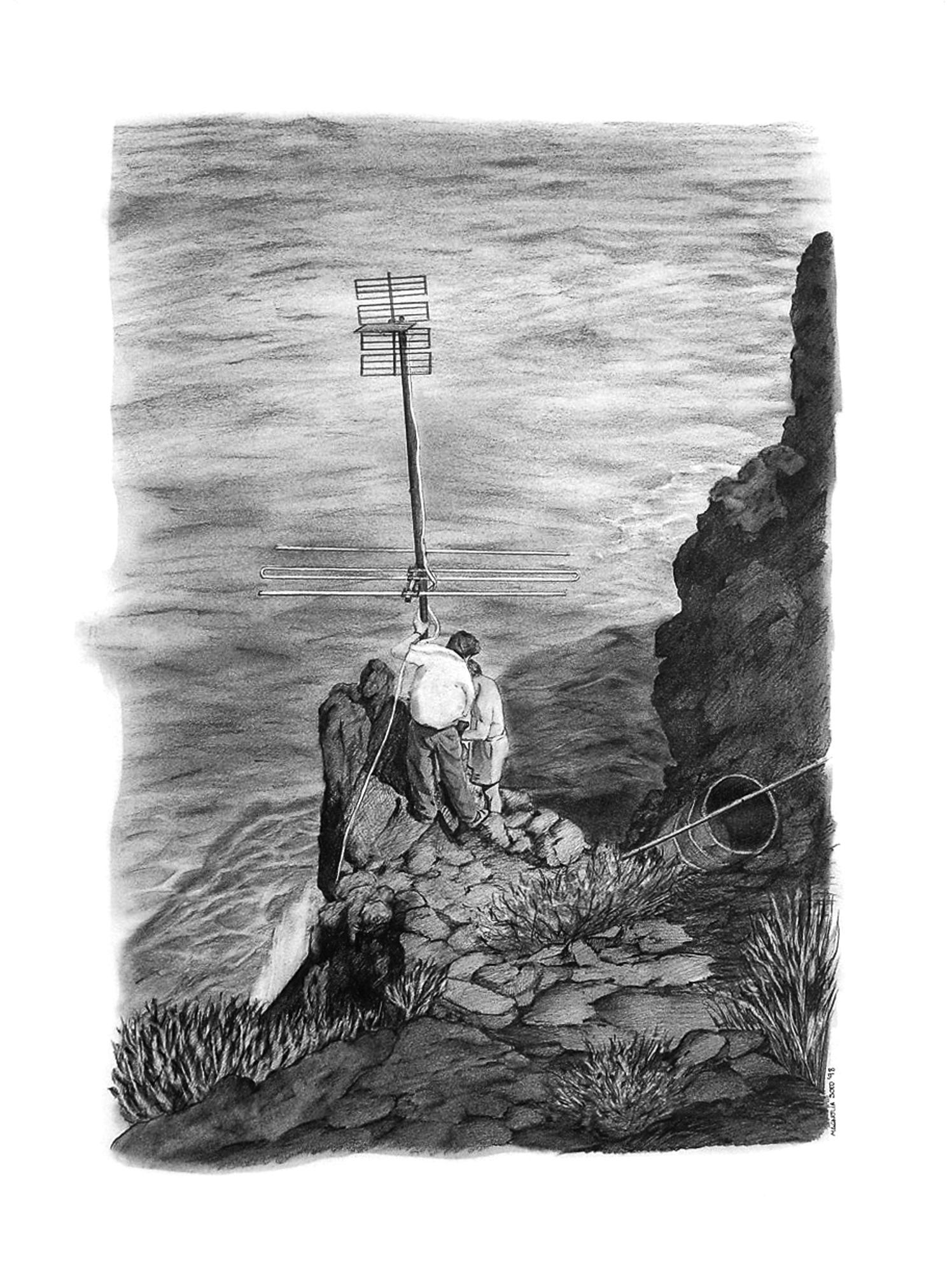 Magnolia Soto. Paisaje Canario 8. 1998. Grafito sobre papel. 50 x 37 cm.