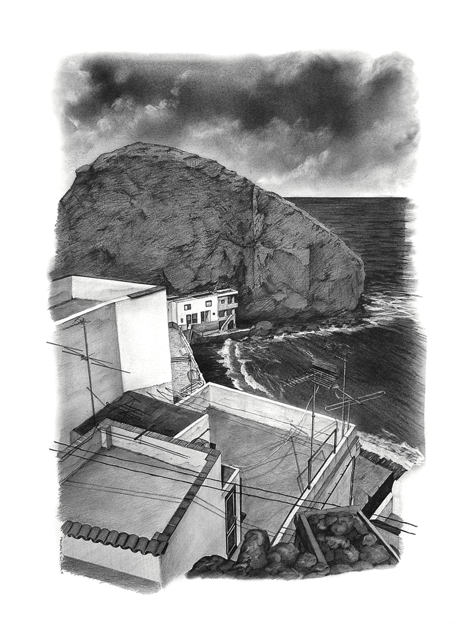 Magnolia Soto. Paisaje Canario 14. 1998. Grafito sobre papel. 50 x 37 cm.