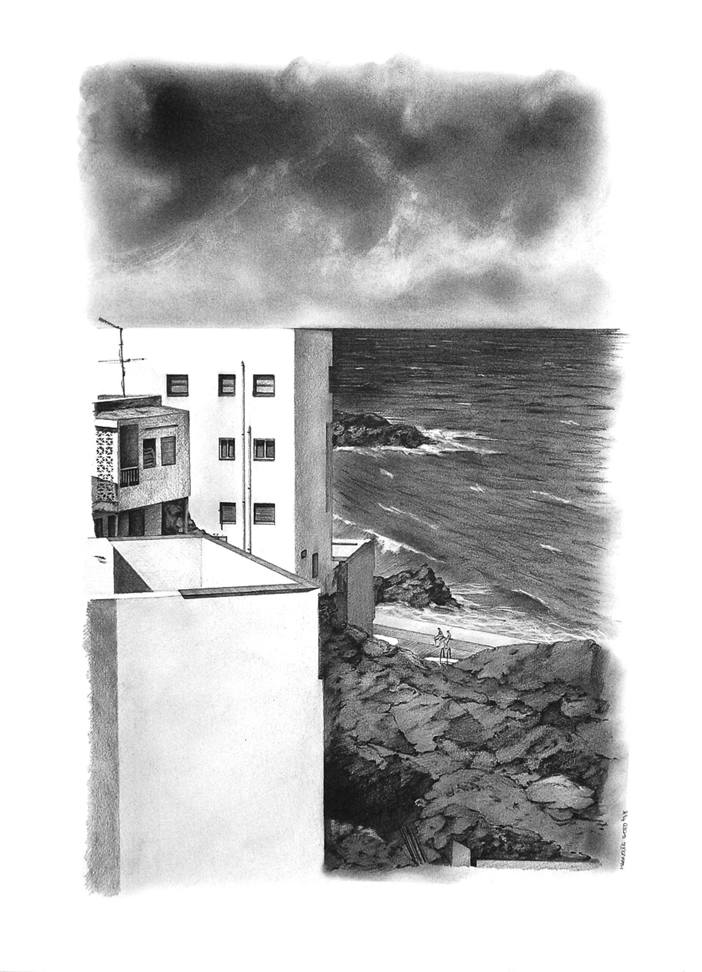 Magnolia Soto. Paisaje Canario 15. 1998. Grafito sobre papel. 50 x 37 cm.