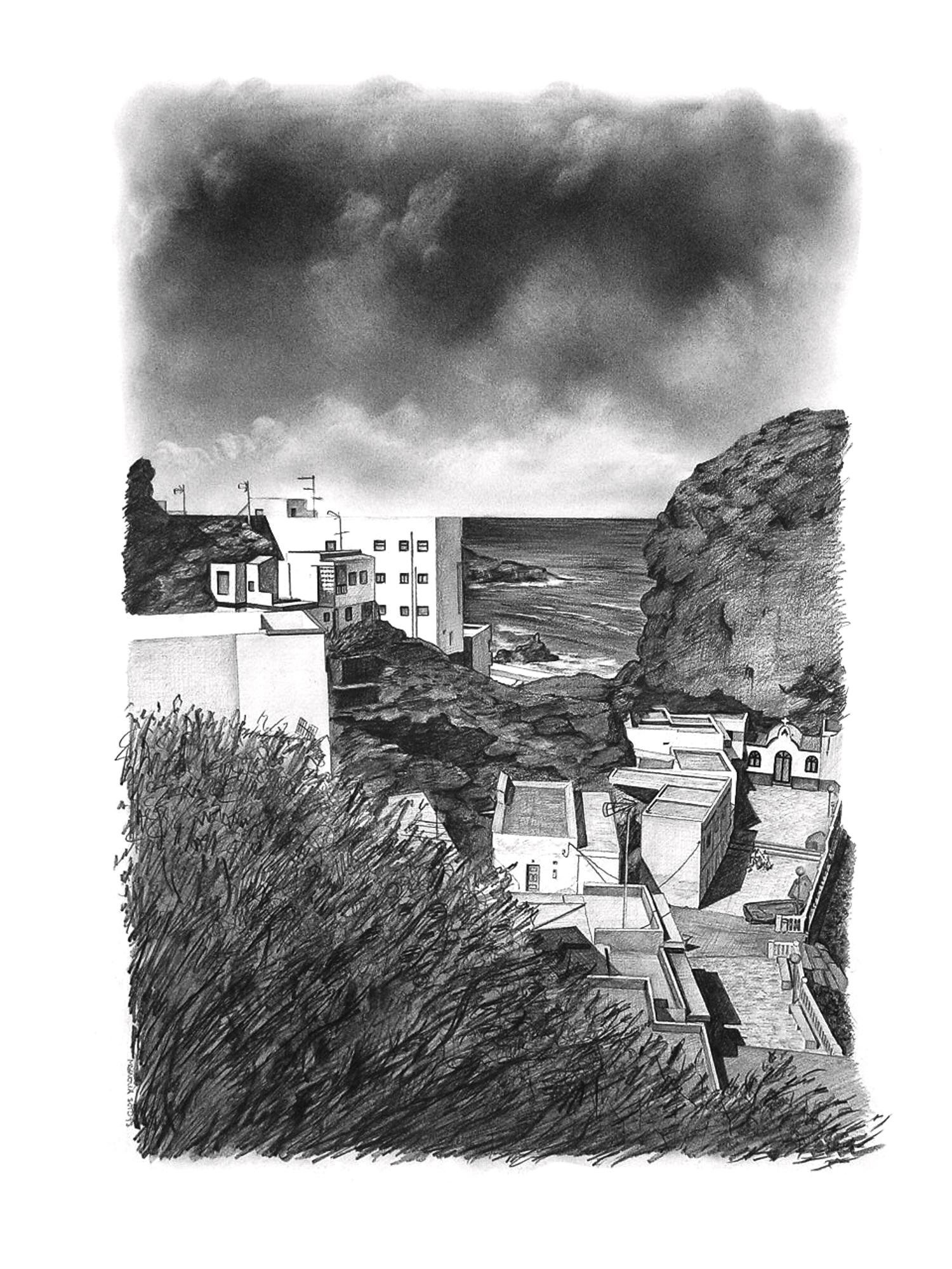 Magnolia Soto. Paisaje Canario 24. 1998. Grafito sobre papel. 50 x 37 cm.