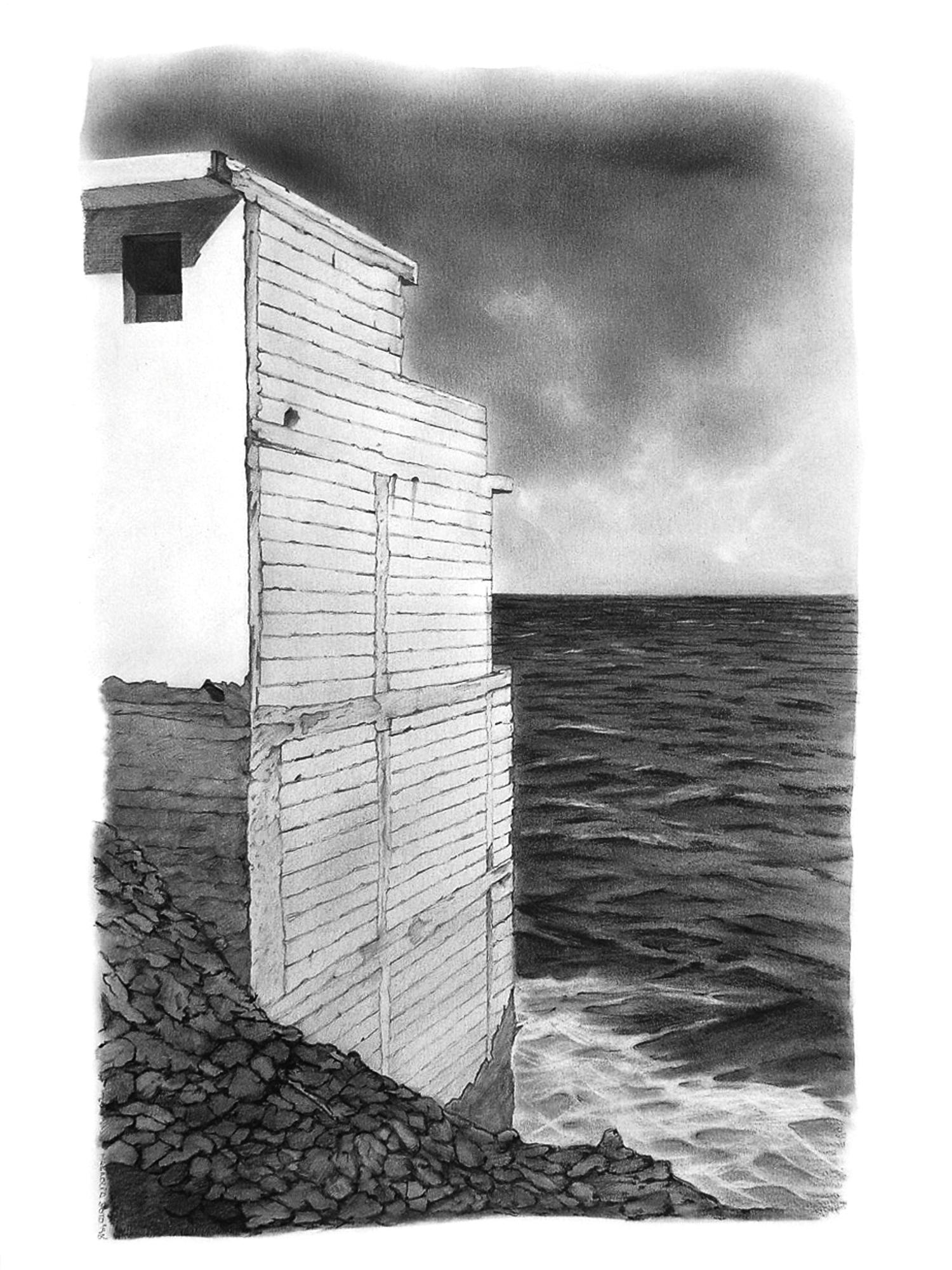 Magnolia Soto. Paisaje Canario 2. 1998. Grafito sobre papel. 50 x 37 cm.