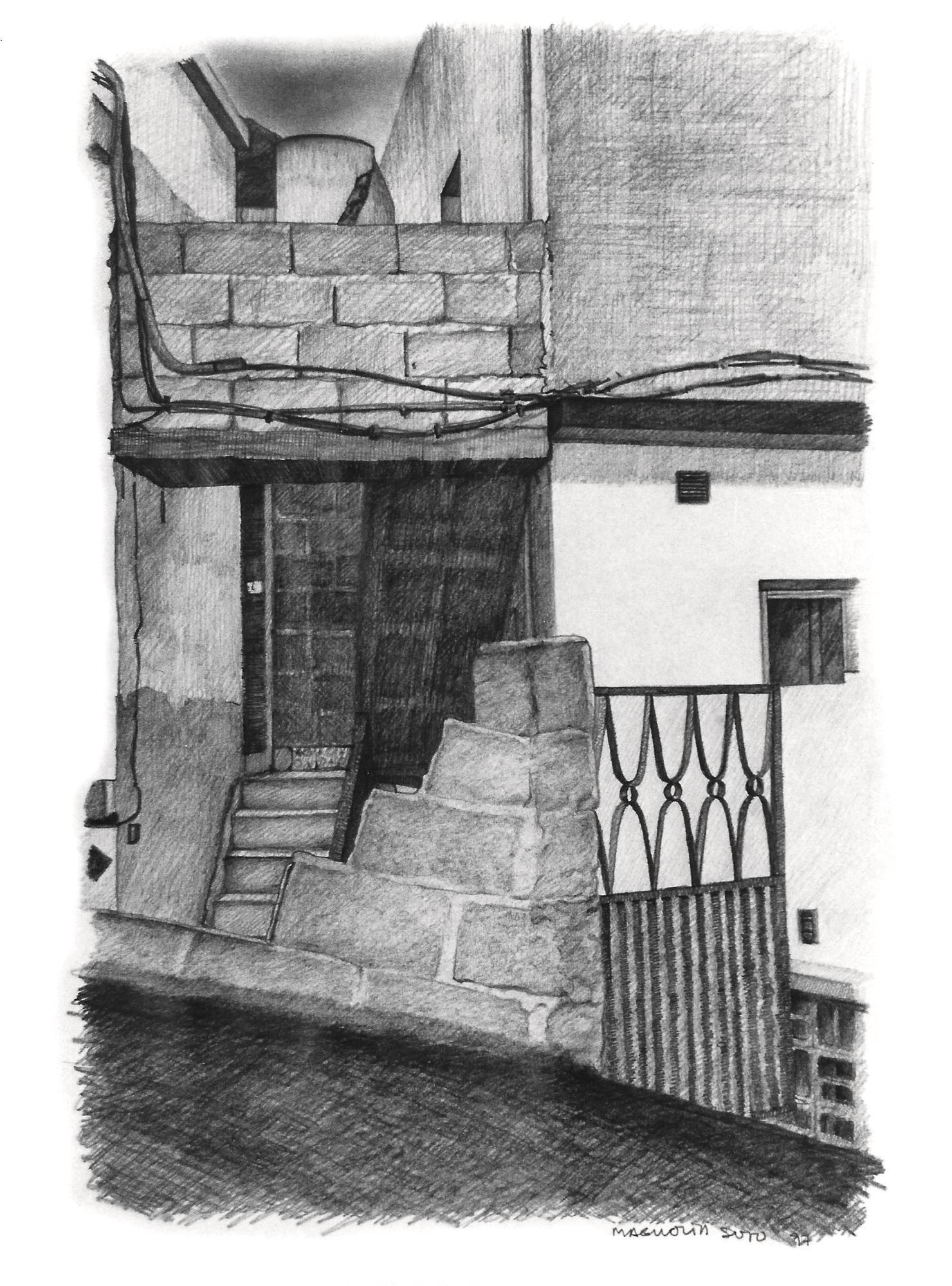 Magnolia Soto. Paisaje Canario 6. 1997. Grafito sobre papel. 37 x 27 cm.