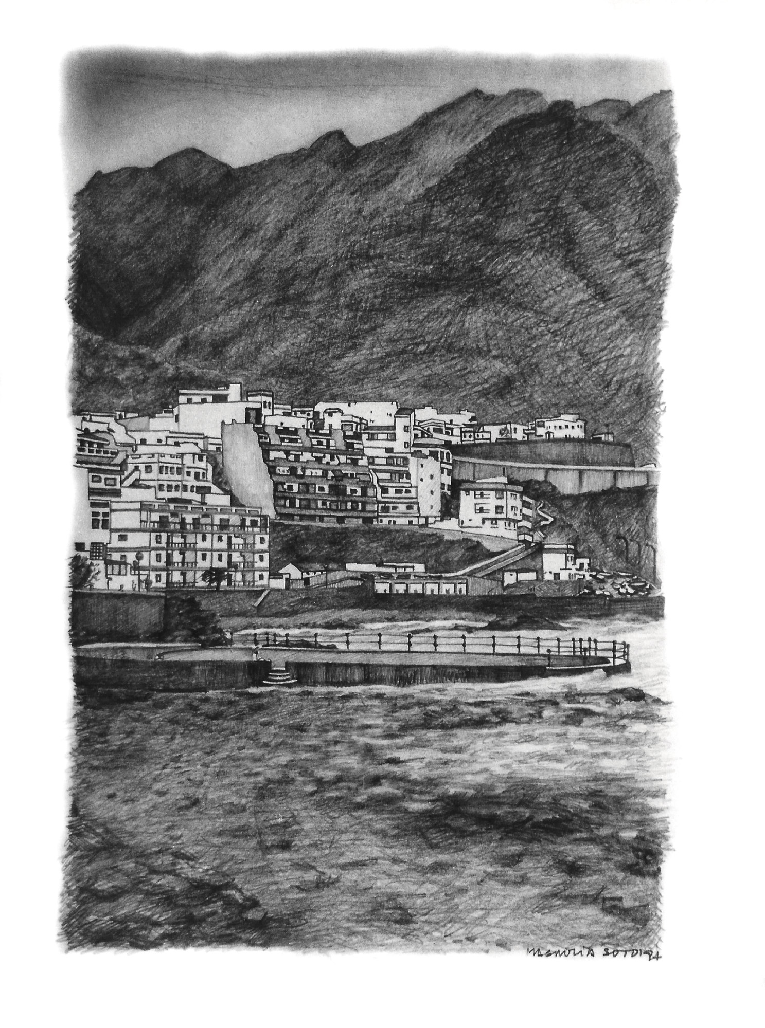 Magnolia Soto. Paisaje Canario 11. Grafito sobre papel. 37X27cm. 1997