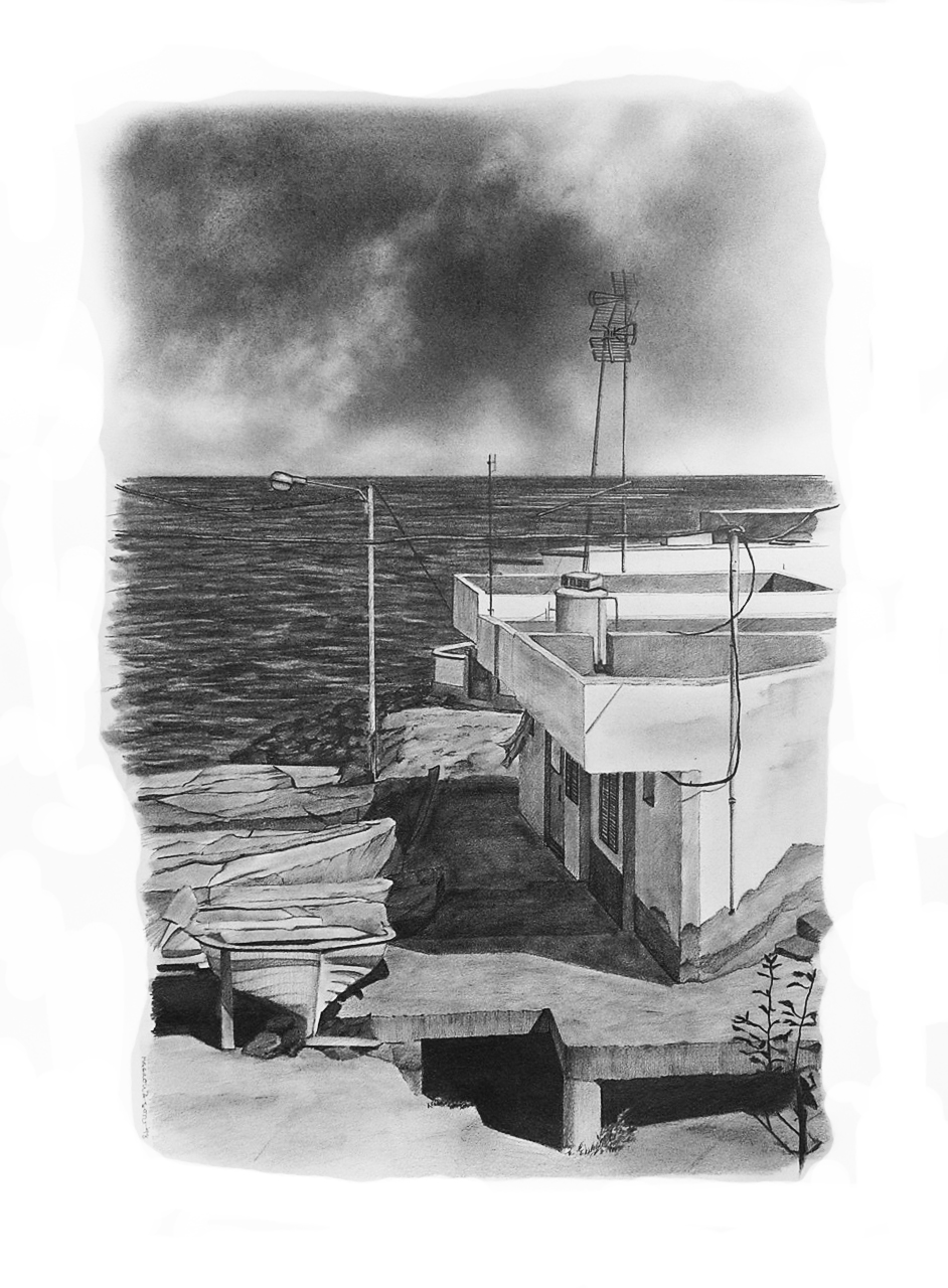 Magnolia Soto. Paisaje Canario 16. 1998. Grafito sobre papel. 50 x 37 cm.