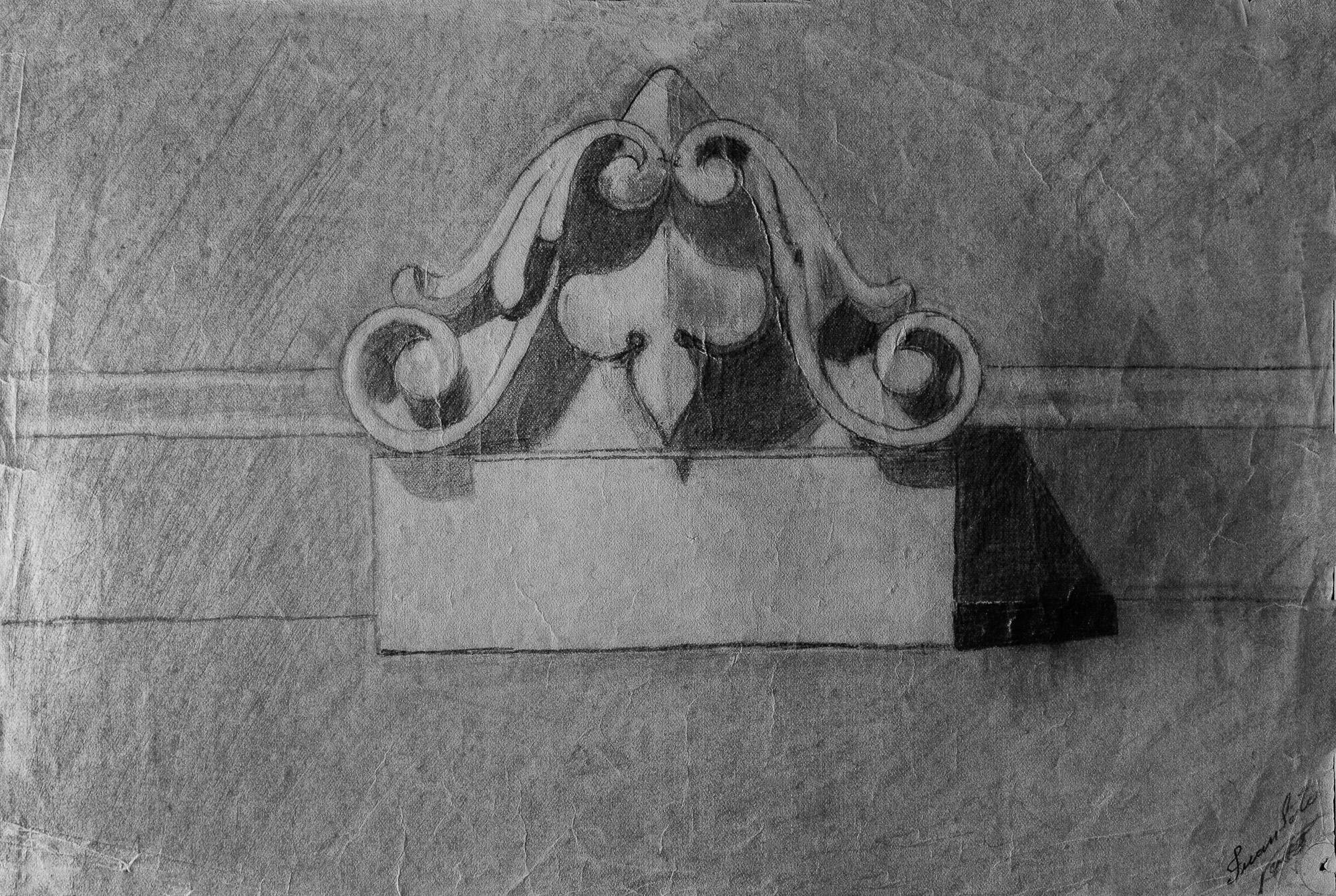Juan Soto. Obra temprana 1946. Carboncillo sobre papel. 22x 32 cm.