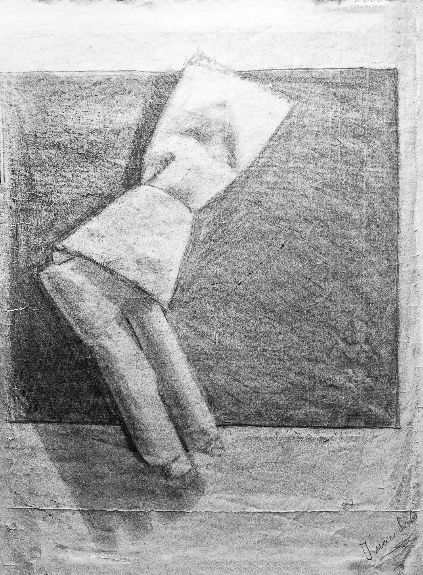 Juan Soto. Obra temprana 1946. Carboncillo sobre papel. 35 x 24 cm.