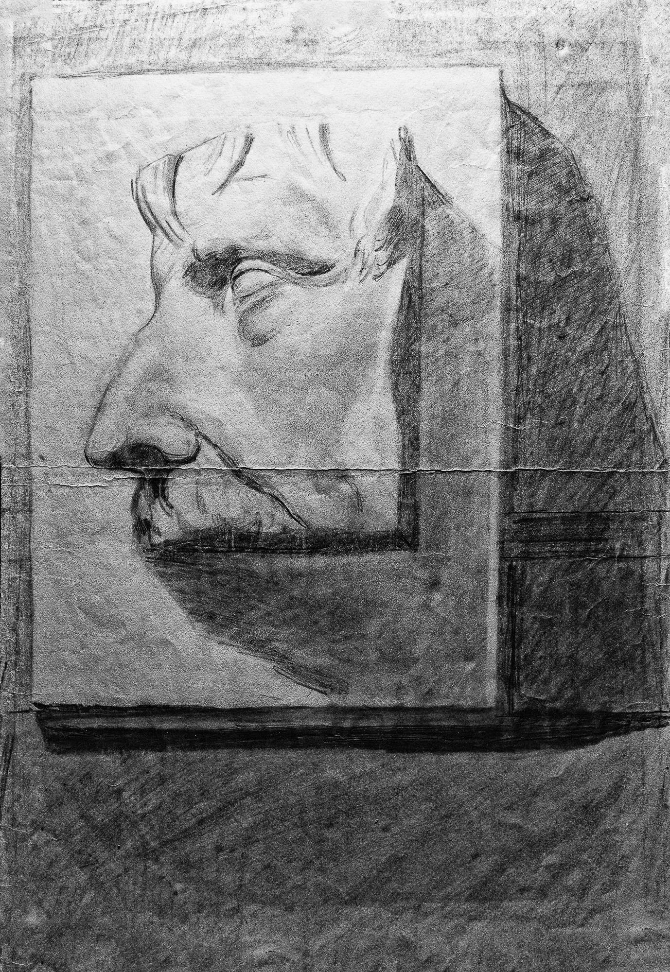 Juan Soto. Obra temprana 1946. Carboncillo sobre papel. 34,5 x 23,5 cm.