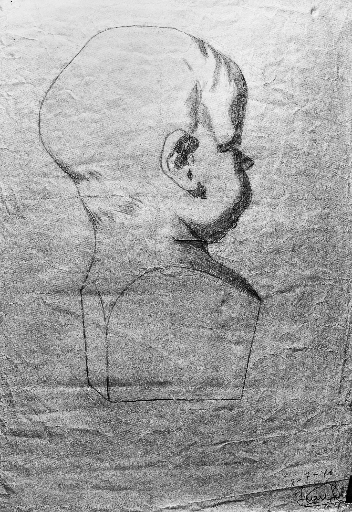 Juan Soto. Obra temprana 1946. Carboncillo sobre papel. 35x 23,5 cm.