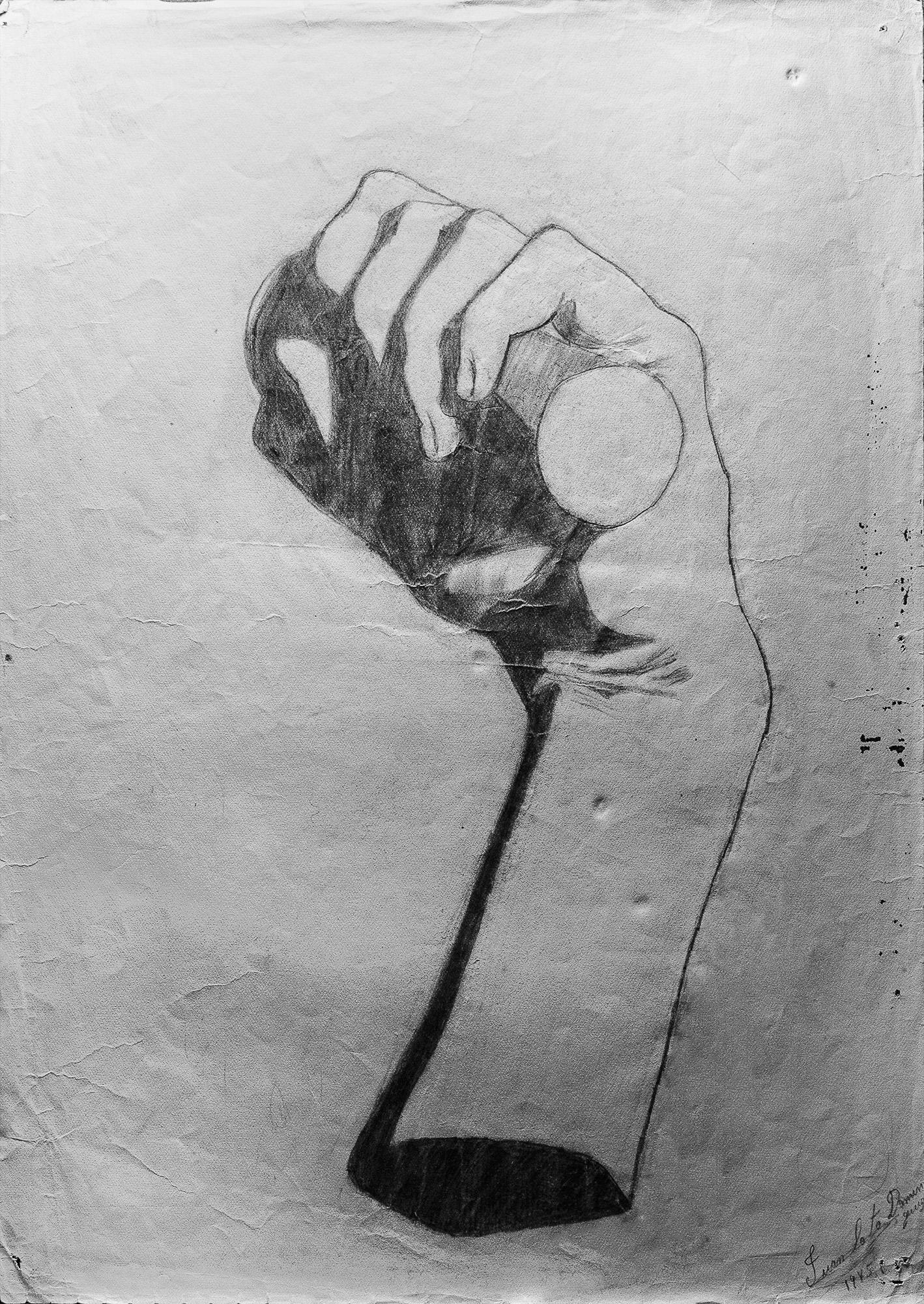 Juan Soto. Obra temprana 1946. Carboncillo sobre papel. 34,5x 23,5 cm.