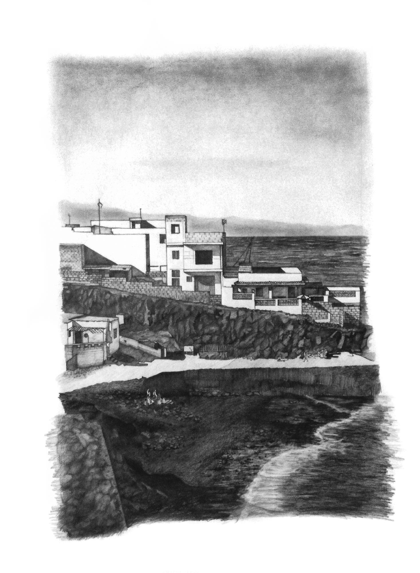 Magnolia Soto. Paisaje Canario 10. 1997. Grafito sobre papel. 84 x 60 cm.