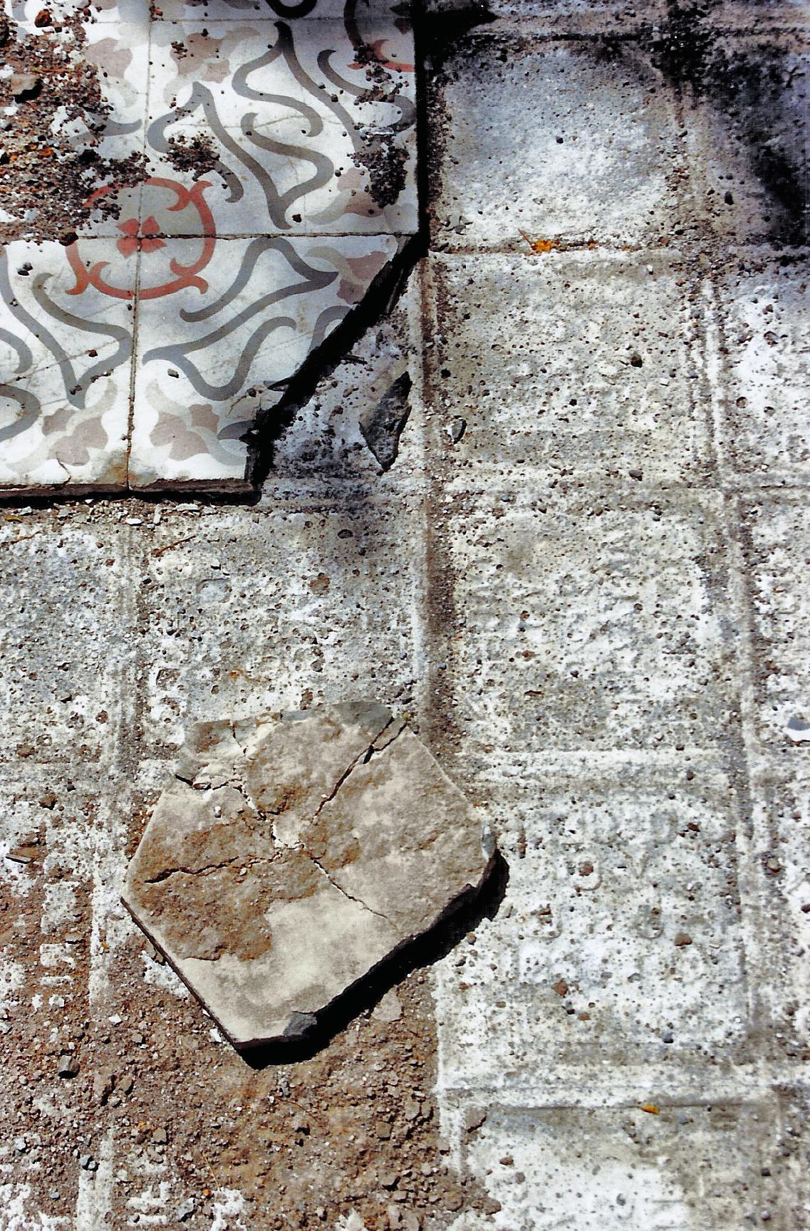 Magnolia Soto. Sin título. 1999. Baldosas de cemento hidráulico.  20 x 20 x 5 cm. cada una. Medidas variables (proceso 2)