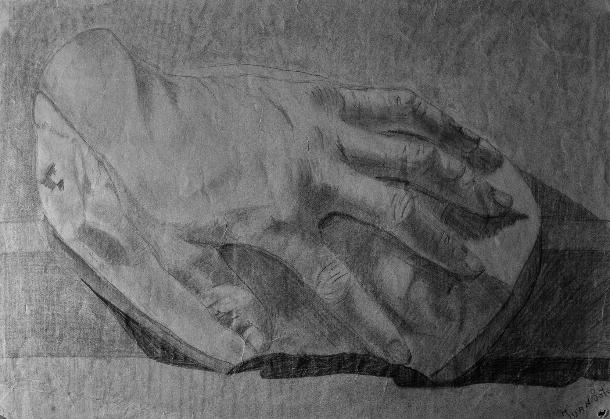 Juan Soto. Obra temprana 1946. Carboncillo sobre papel. 22 x 32 cm.