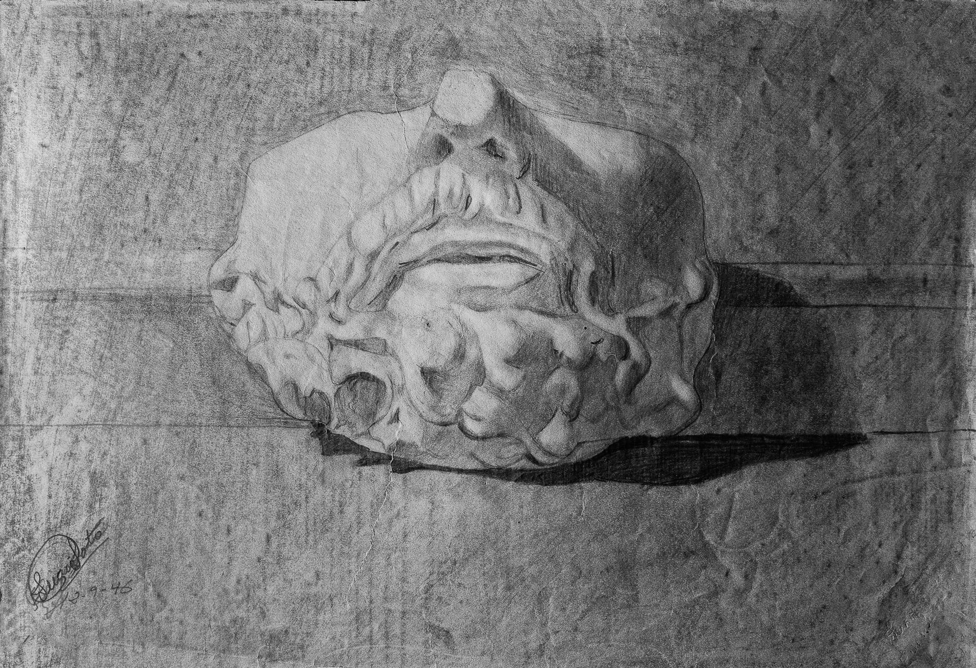 Juan Soto. Obra temprana 1946. Carboncillo sobre papel. 23,5 x 34,5 cm.