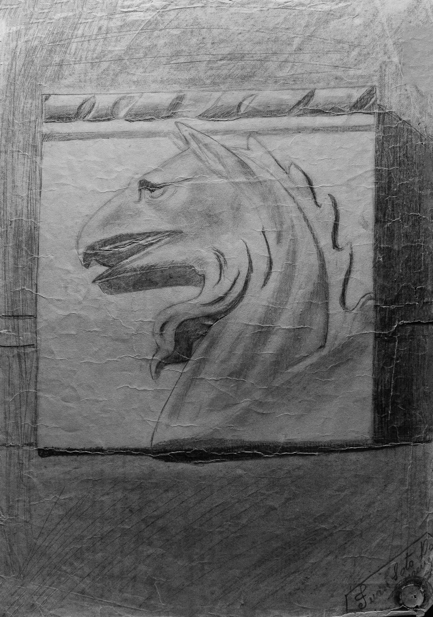 Juan Soto. Obra temprana 1946. Carboncillo sobre papel. 33 x 22 cm.